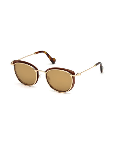 Metal Cat-Eye Mirrored Sunglasses, Brown Pattern