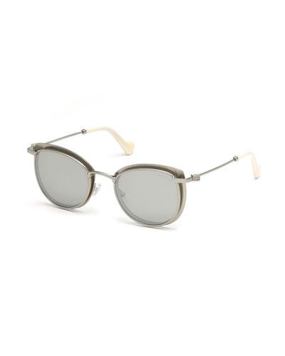 Metal Cat-Eye Mirrored Sunglasses  Gray Pattern