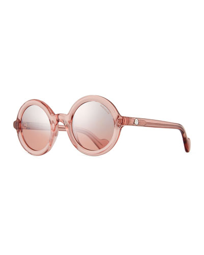 Round Transparent Acetate Sunglasses, Pink