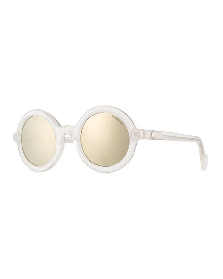 Round Transparent Acetate Sunglasses, White