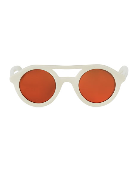 Round Acetate Sunglasses, White/Red