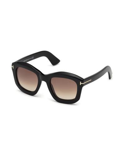 Square Gradient Acetate Sunglasses, Black/Brown