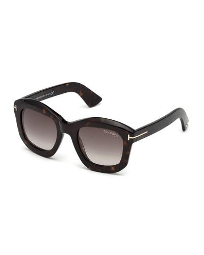 Square Gradient Acetate Sunglasses, Brown Pattern