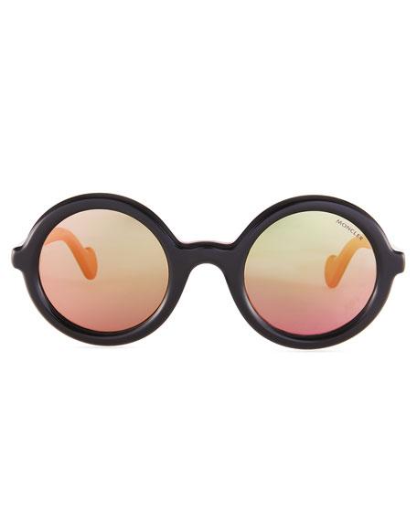 Two-Tone Acetate Round Sunglasses