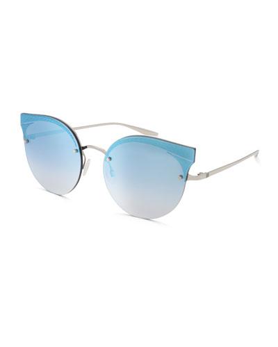 Sol Mate Cat-Eye Mirrored Sunglasses, Blue