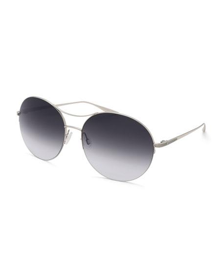 Barton Perreira Mahina Round Gradient Sunglasses, Gray