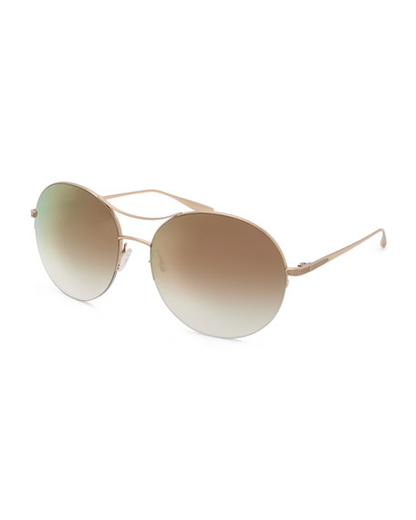 Barton Perreira Mahina Round Mirrored Sunglasses, Gold