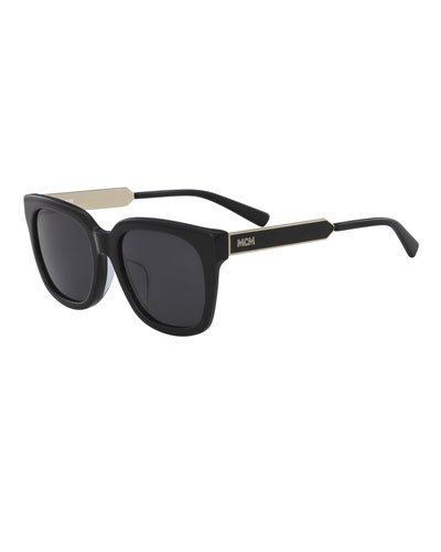 Square Metal & Acetate Sunglasses
