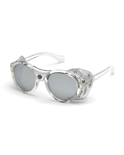 Transparent Acetate Round Sunglasses w/ Leather Trim  Gray