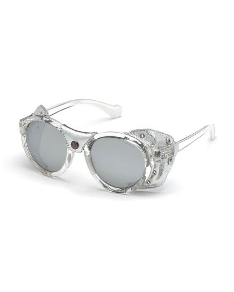 Moncler Transparent Acetate Round Sunglasses w/ Leather Trim,