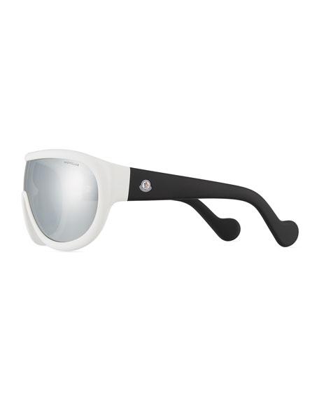 Two-Tone Mirrored Shield Sunglasses, White/Black