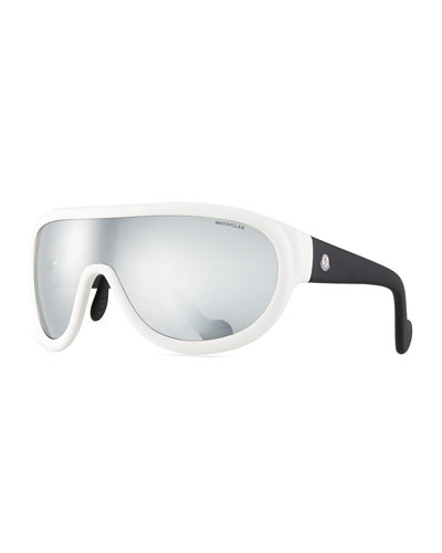 Two-Tone Mirrored Shield Sunglasses, White/Black