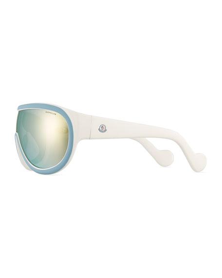 Two-Tone Mirrored Shield Sunglasses, Blue/White