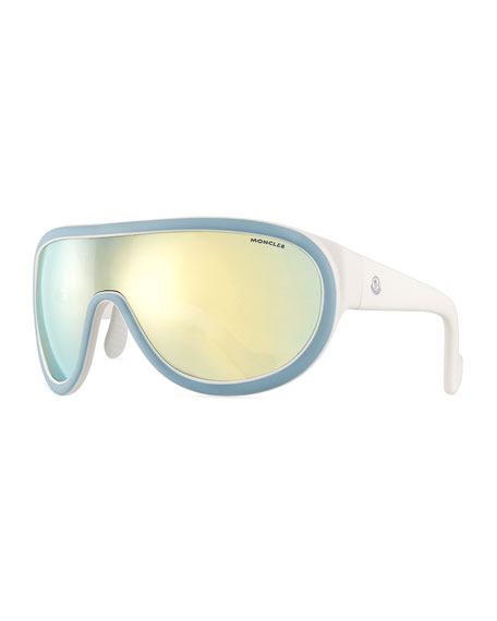 Two-Tone Mirrored Shield Sunglasses, Blue/White