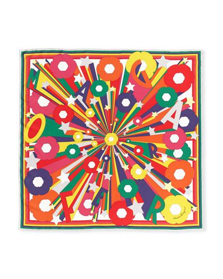 Explosion Silk Foulard Square Scarf in Rainbow