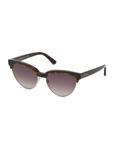 Tortoise Cat-Eye Semi-Rimless Sunglasses, Brown