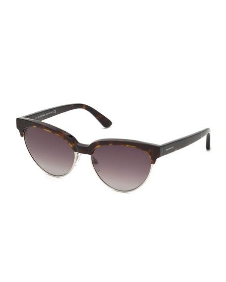 Tortoise Cat-Eye Semi-Rimless Sunglasses, Brown