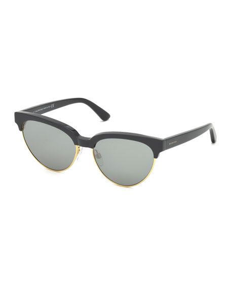 Balenciaga Cat-Eye Semi-Rimless Sunglasses, Black