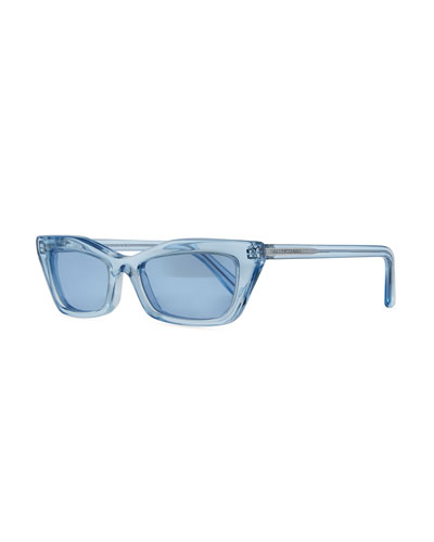 Runway Cat-Eye Shiny Sunglasses, Blue