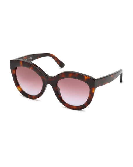 Gradient Oval Acetate Sunglasses