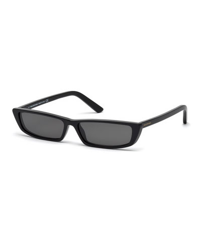 Runway Rectangle Sunglasses, Black