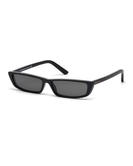 Runway Rectangle Sunglasses, Black