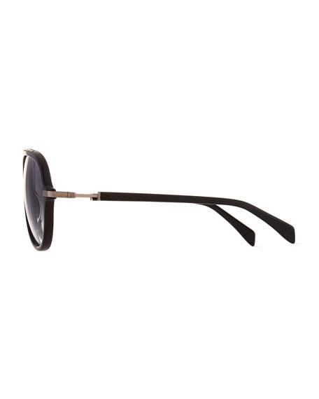 Acetate Aviator Sunglasses w/ Metal Accents, Black