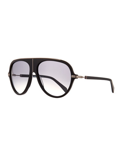 Acetate Aviator Sunglasses w/ Metal Accents, Black