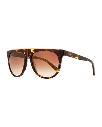 Flat-Top Two-Tone Acetate Aviator-Style Sunglasses