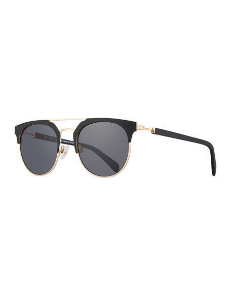 Metal and Acetate Round Sunglasses