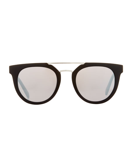 Round Mirrored Acetate Sunglasses w/ Contrast Bridge