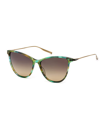 Nia Acetate & Titanium Round Sunglasses, Green Pattern