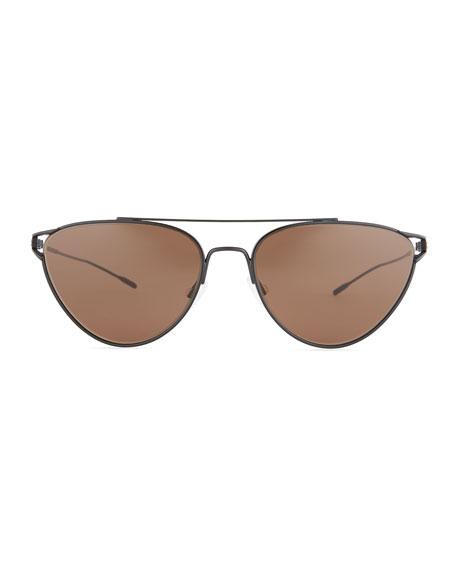 Floriana Cat-Eye Metal Sunglasses, Black