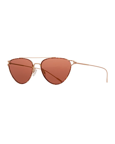 Floriana Cat-Eye Metal Sunglasses, Burgundy