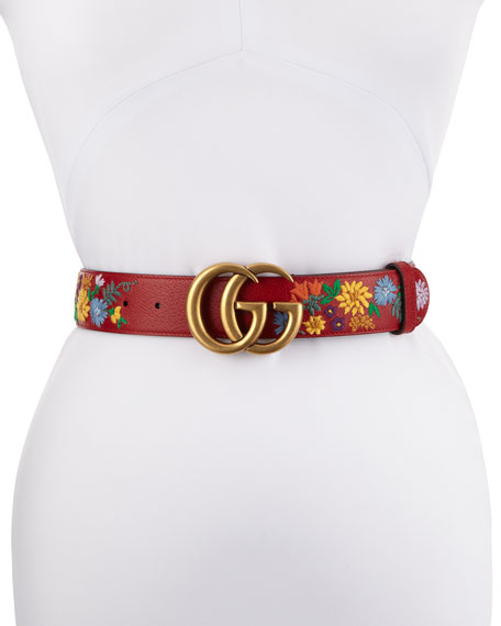 Gucci GG Marmont Flower-Embroidered Belt