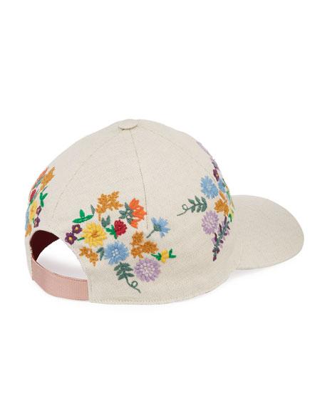 Gucci Canvas Baseball Hat w  Floral Embroidery 55fb10b5ed60
