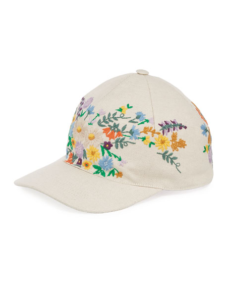 Canvas Baseball Hat w/ Floral Embroidery