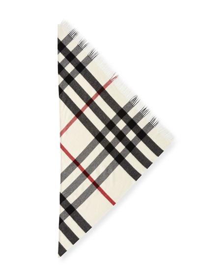Cashmere Checkered Fringe Bandana Scarf