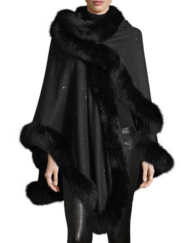 Fox Fur-Trimmed Cashmere Sequin U-Cape