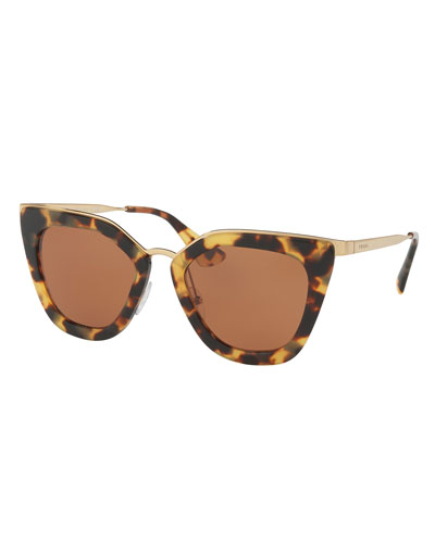 Gradient Metal-Trim Geometric Cat-Eye Sunglasses