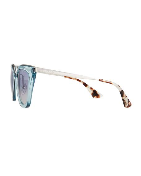 Gradient Metal-Trim Geometric Cat-Eye Sunglasses
