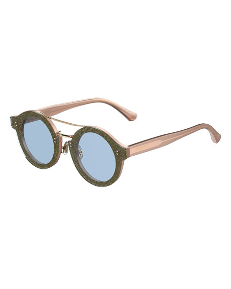 Montie Round Glittered Brow-Bar Sunglasses