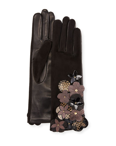 Leather & Suede Gloves w/ Flower Details