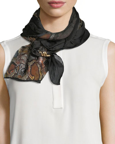 Woven Python-Print Silk Scarf, Brown/Orange