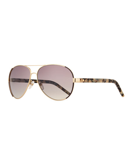 60MM OVERSIZE AVIATOR SUNGLASSES - GOLD/ DARK RUTHENIUM