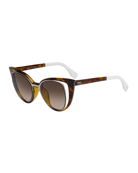 Open-Inset Square Cat-Eye Sunglasses