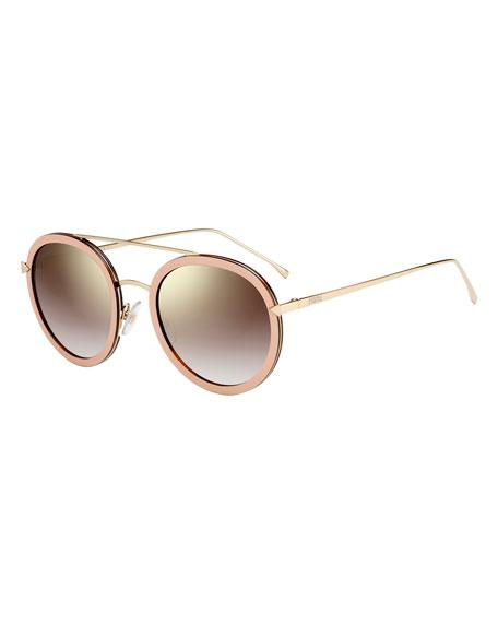 Fendi Trimmed Round Mirrored Sunglasses, Pink