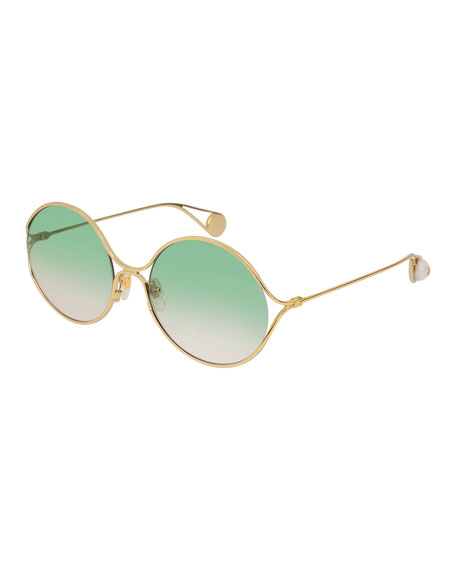 Gucci Iridescent Round Forked Metal Sunglasses, Gold/Sage