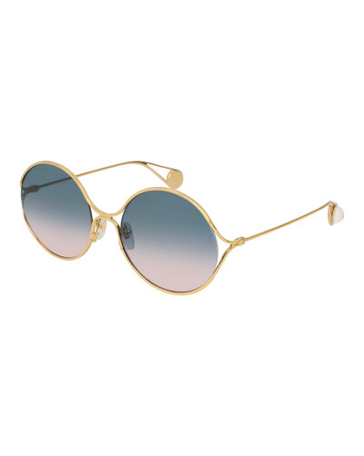 Iridescent Round Forked Metal Sunglasses, Gold/Blue