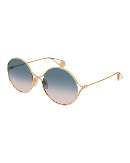 f08e7dd3b5 GUCCI 58MM GRADIENT LENS ROUND SUNGLASSES - GOLD  TURQUOISE  RED